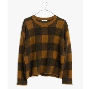 Madewell Incheck Plaid Crewneck Sweater Rust XS